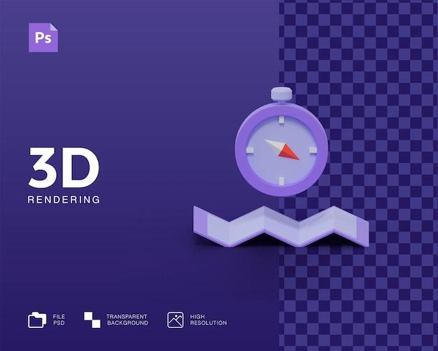 3d компас со значком карты