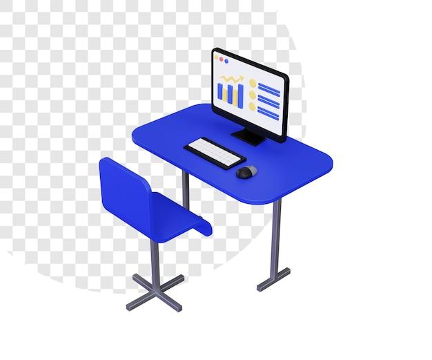 3d computer desk workplace illustration