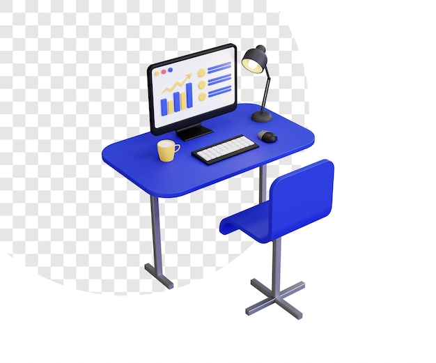 3d computer desk workplace with lamp and cup
