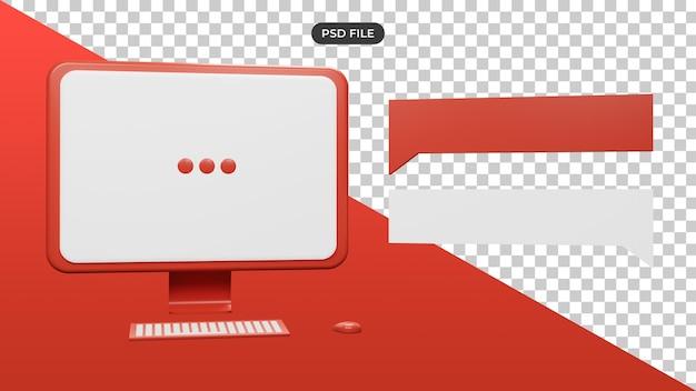 メッセージボックスと3dコンピューターイラスト