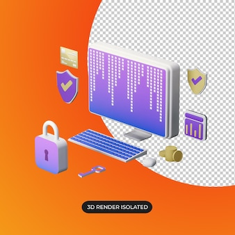 3d computer security concept isolated