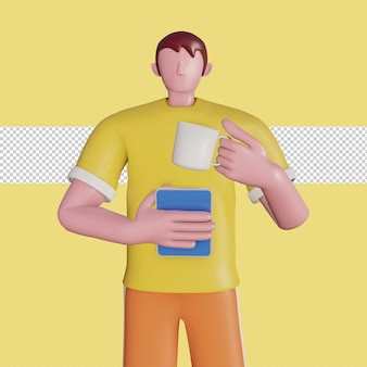 3d concept illustration of a character holding a tablet and holding a teacup