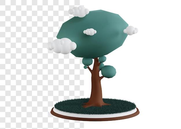 잔디와 큰 나무의 3d 개념 그림