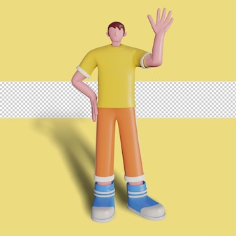 3d concept illustration of a waving character