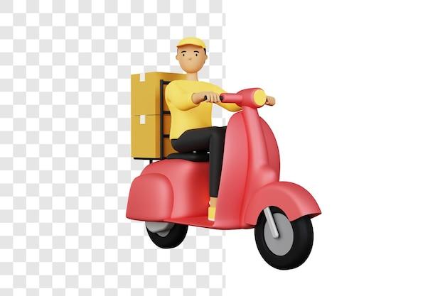 スクーターでパッケージを配達する宅配便の3dコンセプト