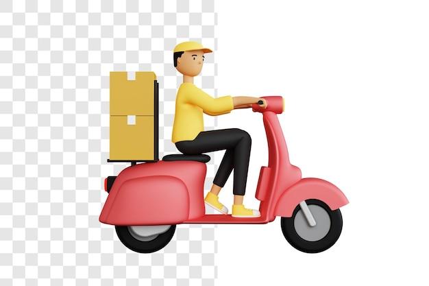パッケージを配達する宅配便の3dコンセプト