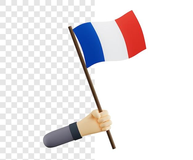 고립 된 프랑스 국기의 3d 개념 렌더링