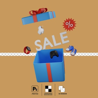 3d concept of sale promotion sign in gift bo