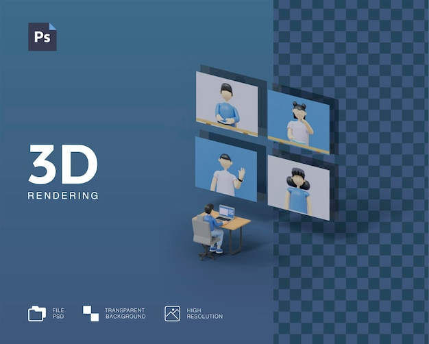 Иллюстрация встречи 3d конференции Premium Psd