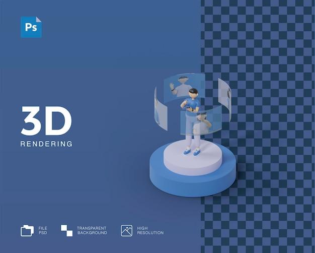 Иллюстрация встречи 3d конференции