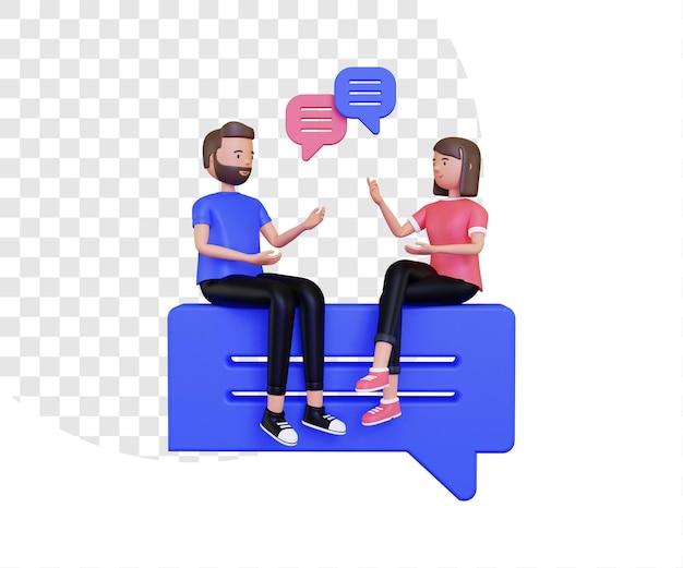 남성과 여성 캐릭터와 3d 대화 그림