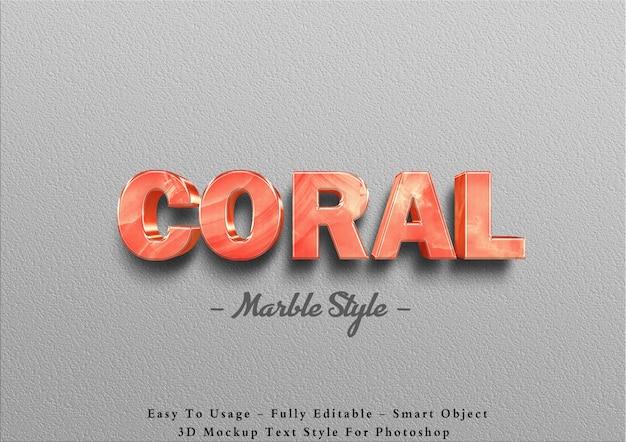 3d коралловый мрамор текстовый эффект шаблон