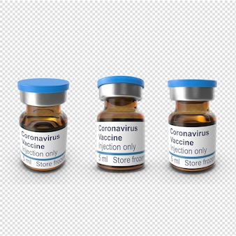 Изолированная бутылка вакцины вируса короны 3d