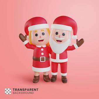 그들의 손을 흔들며 산타 클로스의 3d 커플 캐릭터