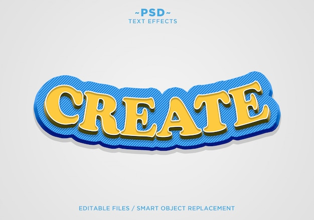 3d create blue yellow effect editable text