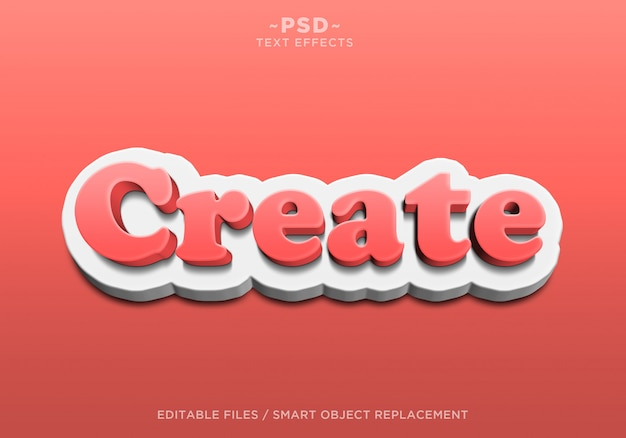 3d create red white editable text effects