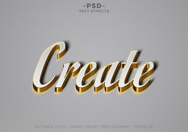 3d create white gold редактируемый текстовый эффект