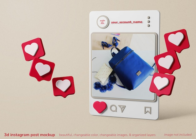 같은 알림이있는 instagram 앱 프레임 게시물의 3d 창의적인 개념 모형