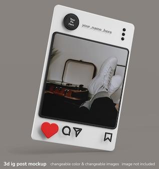 Instagramアプリの3dクリエイティブコンセプトフレームポストインターフェースモックアップ