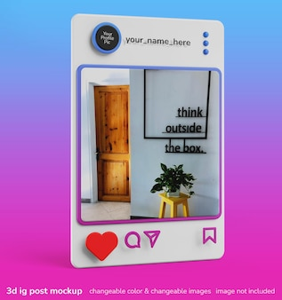 単一のinstagramアプリフレーム投稿インターフェースの3dクリエイティブモックアップ