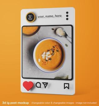 単一のinstagramアプリの3dクリエイティブモックアップフレームポストインターフェイスモックアップ
