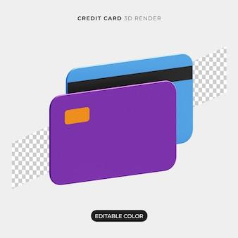 3d 신용 카드 3d 렌더링 절연 프리미엄 PSD 파일