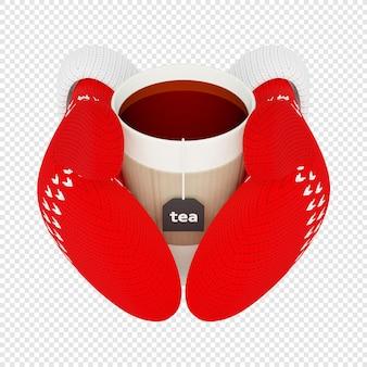 3d чашка горячего чая в вязаных красных варежках, изолированных на 3d иллюстрации