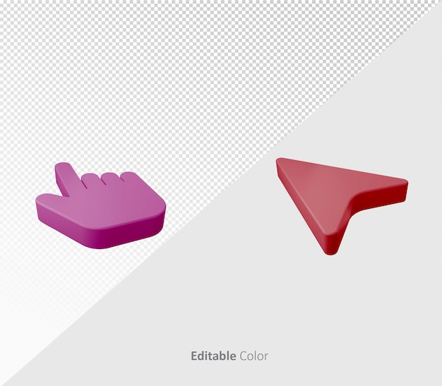 편집 가능한 색상이 있는 3d 커서 포인터 기호 또는 아이콘 psd 템플릿