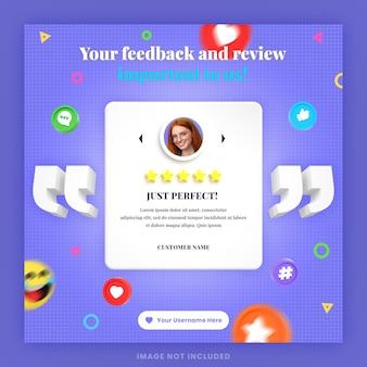 3d 고객 피드백 검토 또는 흉내낸 소셜 미디어 인스타그램 포스트 템플릿