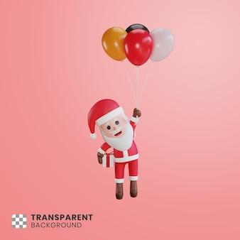 3d милый персонаж санта-клаус и его подарочная коробка, плавающая с воздушными шарами