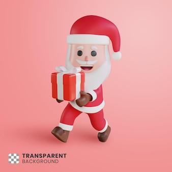 3d милый персонаж санта-клаус с подарочной коробкой