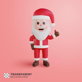 엄지손가락 기호로 3d 귀여운 캐릭터 산타 클로스