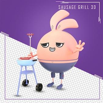 소시지 바베큐와 3d 귀여운 캐릭터