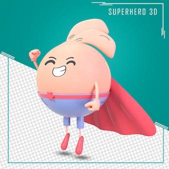スーパーヒーローマントが飛行を開始する3dかわいいキャラクター
