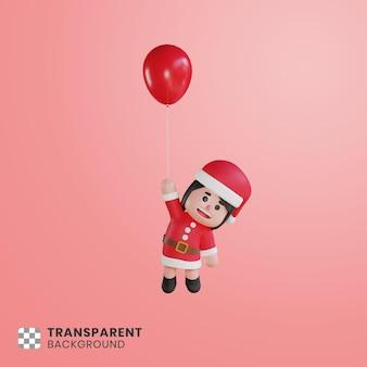 풍선과 함께 떠있는 3d 귀여운 소녀 캐릭터 산타 클로스
