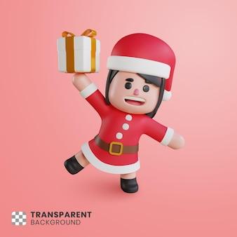 3차원, 귀여운, 소녀, 성격, 산타클로스, 보유, 선물 상자