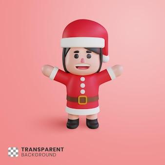 3d 귀여운 소녀 캐릭터 산타 클로스 그녀의 손을 상승