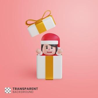상자에서 놀라운 3d 귀여운 소녀 캐릭터 산타 클로스