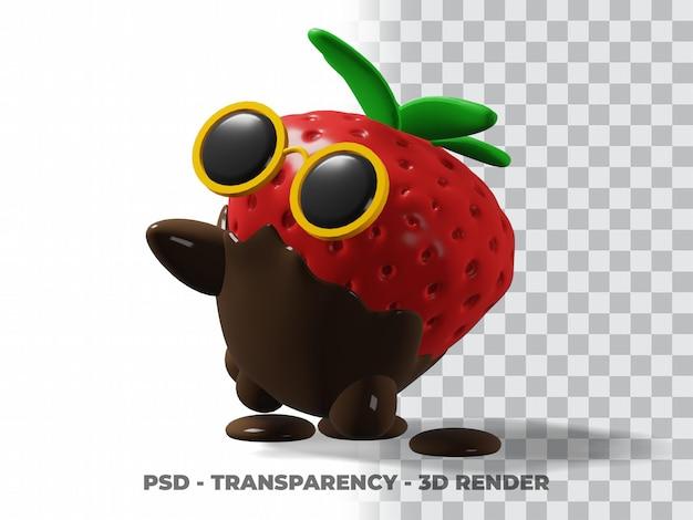 3d милые очки клубничный шоколад с прозрачным фоном