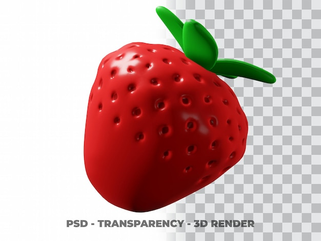 3d милая клубника с прозрачным фоном