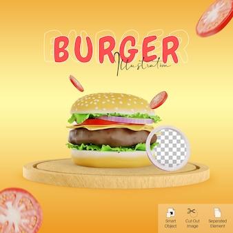 소셜 미디어 요소를 위한 토마토가 있는 커팅 보드 그림에 있는 3d 귀여운 스타일의 버거