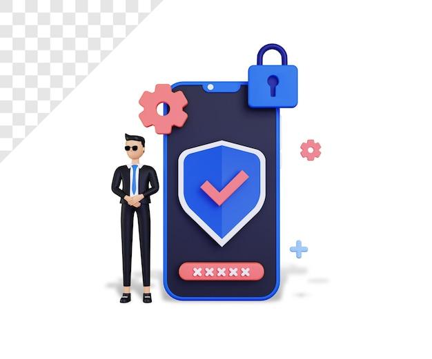 スマートフォンと保護アイコンを備えた3dサイバーセキュリティ