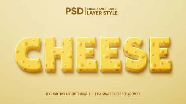 3d dairy milk cheese layer editable layer style smart object text effect