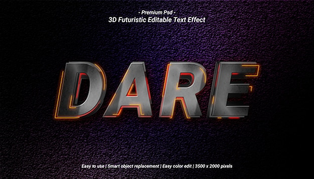 3d dare text effect template