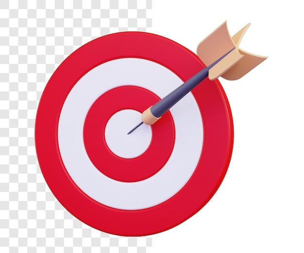 3d dart board for target with bullseye arrow