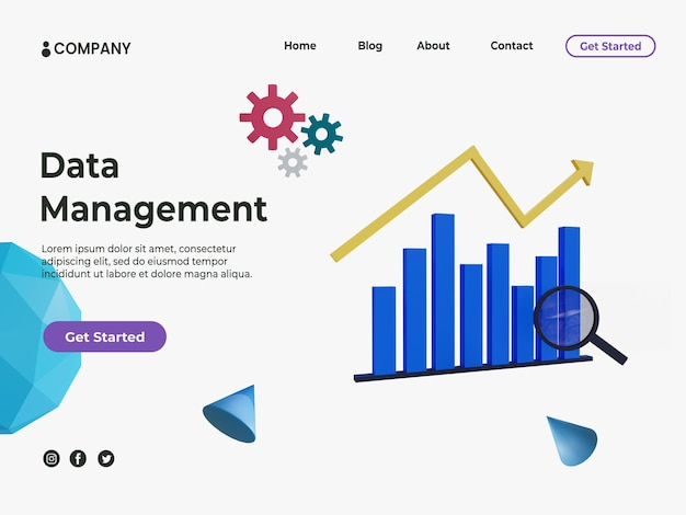 Концепция управления данными 3d для целевой страницы с графиком статистики