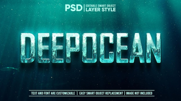 Редактируемый текстовый эффект стиля слоя смарт-объекта 3d deep underwater metal