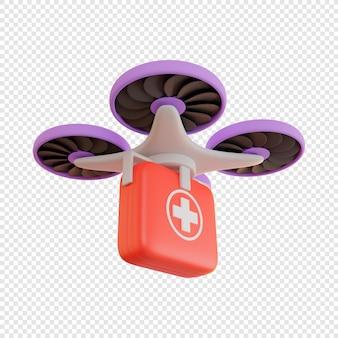 応急処置キット医薬品のドローンによる3d配達非接触配達小包配達