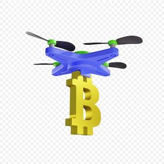 3d-доставка биткойнов с помощью дрона с современными технологиями изолированные 3d иллюстрации