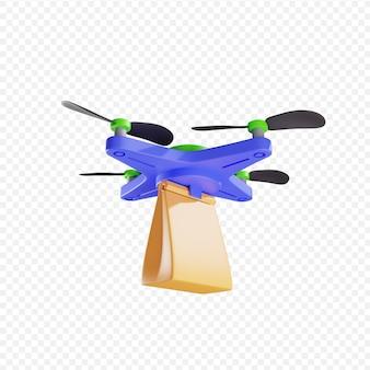 3d доставка бумажного пакета дроном бесконтактная доставка доставка посылок современные технологии